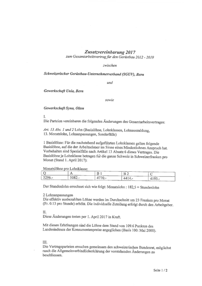 GAV Zusatzvereinbarung 2017 deutsch