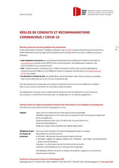 Communique Regles-de-conduite-COVID-19 V3