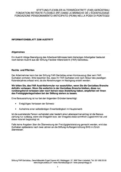 FAR Gerüstbau Infoblatt Austritt deutsch