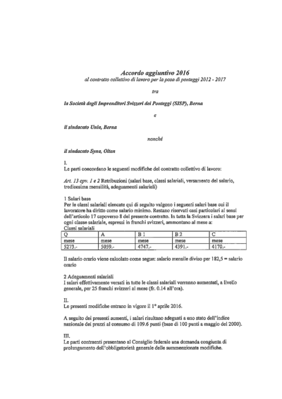 Accordo aggiuntivo 2016